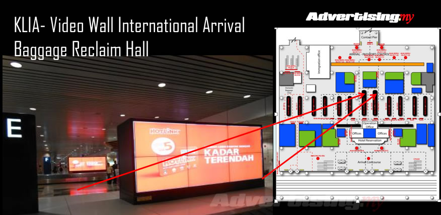 KLIA- video wall international arrival Baggage reclaim hall Rate