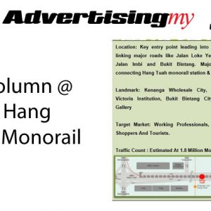 Ad Column Jalan Hang Tuah Monorail Advertising Rate
